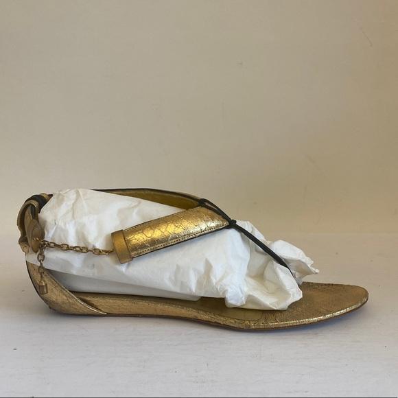 Jimmy choo Allena gold metallic Sandals $795 40